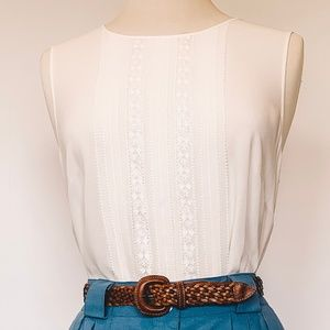 Vintage Sleeveless Lacey Silk Blouse